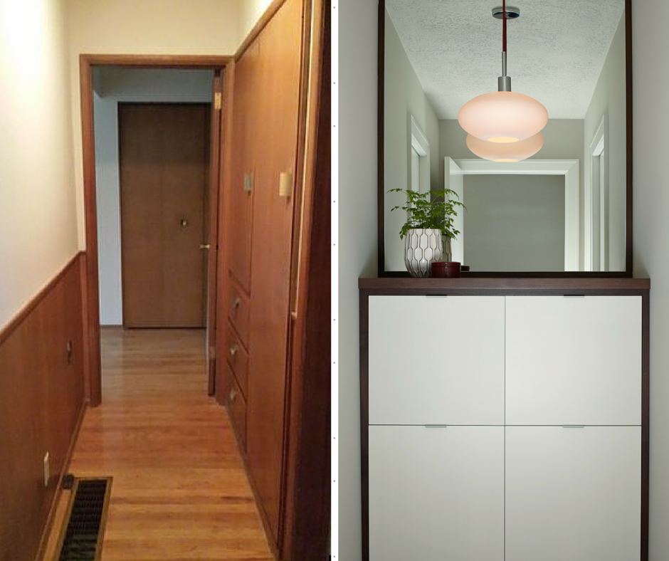 Mid Century Hallway Before & After