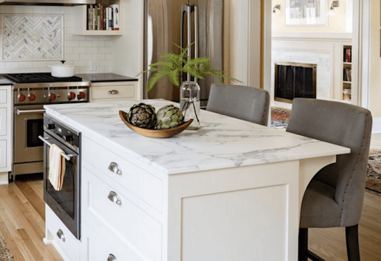 calcatta topped kitchen island