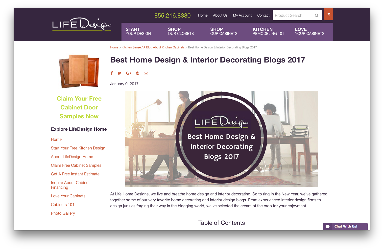 mosaik design featured on lifedesign home as best blog of 2017!