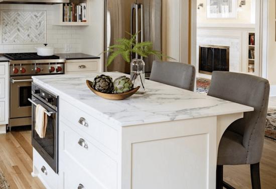 calcatta topped kitchen island