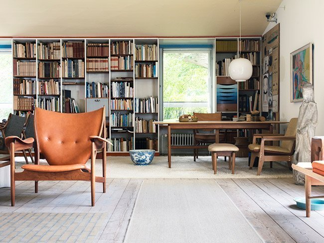 personal library with low ceilings