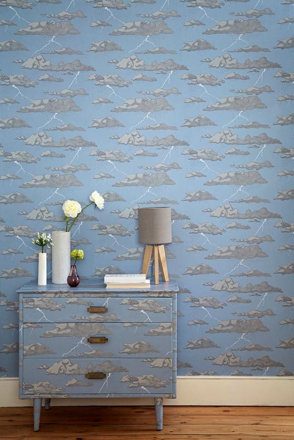 rain patterned wallpaper