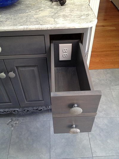 cabinet with plug inside