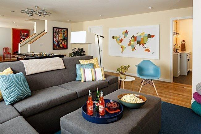 eclectic basement space round contours