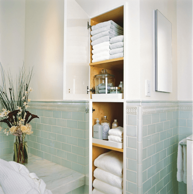 prioritize storage small bathroom