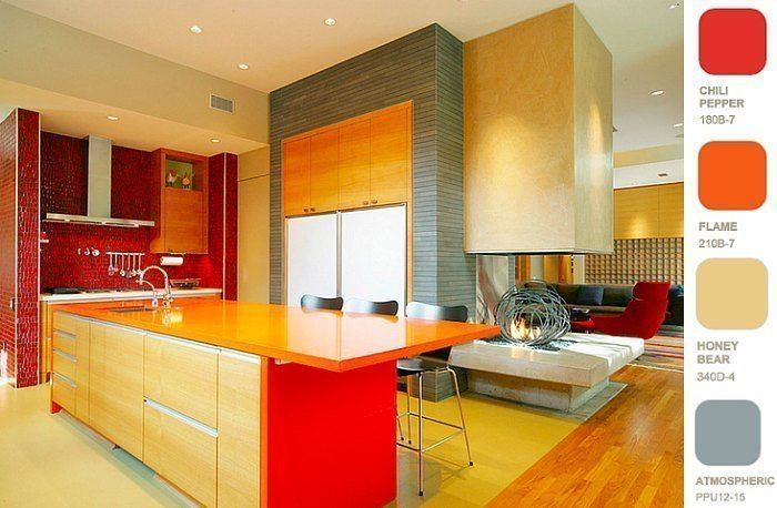 White Gray And Red Kitchen Color Scheme