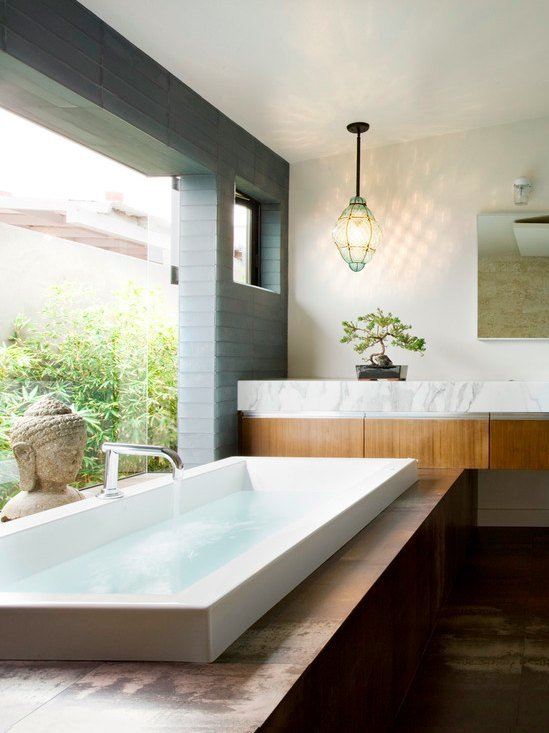 clean bathroom zen bathtub