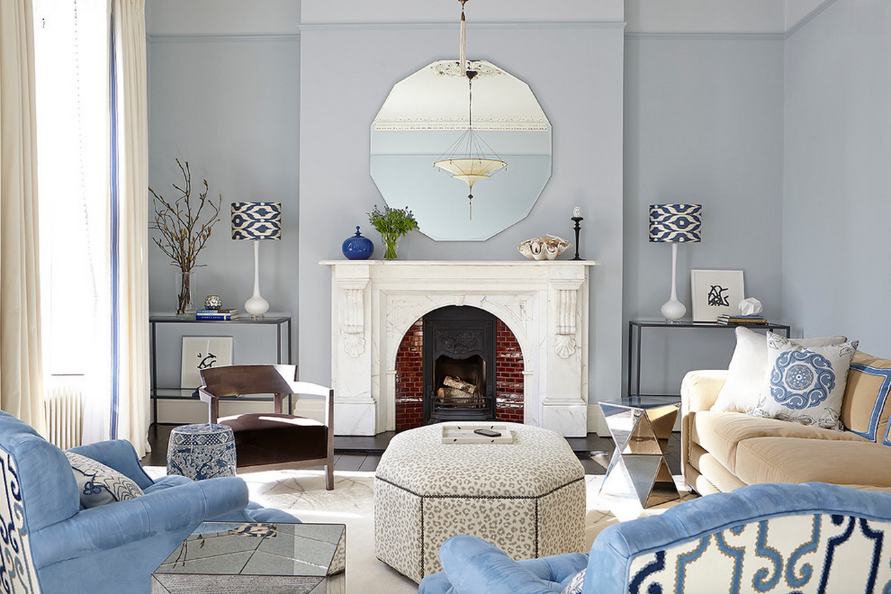blue color living room design