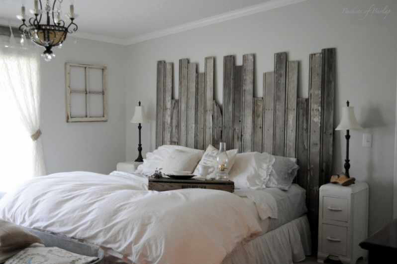 rustic reclaimed wood headboard