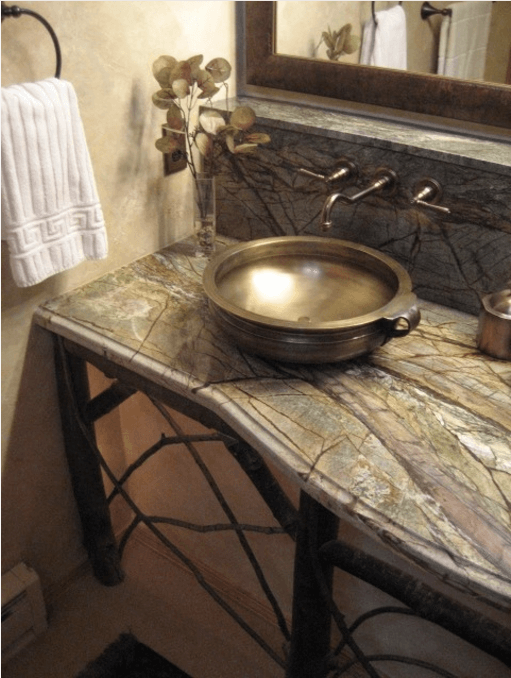 Master Vanity rainforest green marble countertops