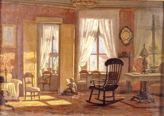 Johan Zacharias Blackstadius Interiör salong med läsande