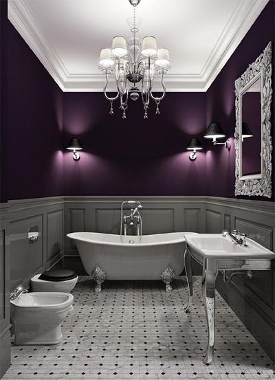 glamorous purple bathroom