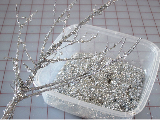 glittery branch holiday decorations diy
