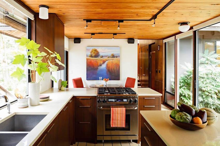 mid-century modern kitchen focal point