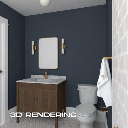 Dark Blue Bath - 3D Rendering