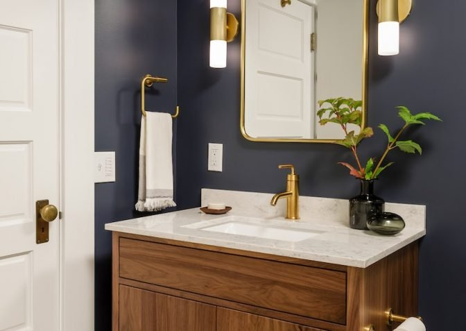 Dark Blue Hall Bathroom