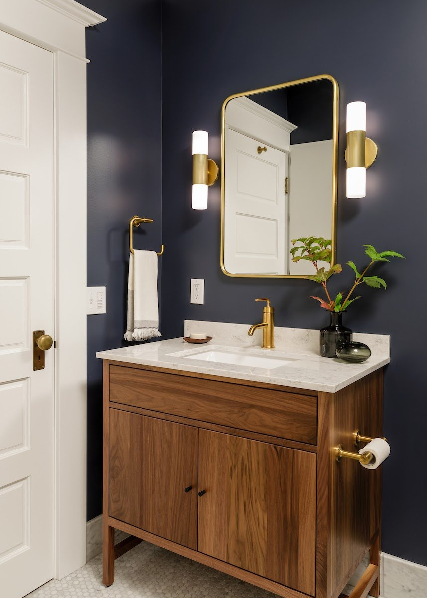 Dark Blue Hall Bath