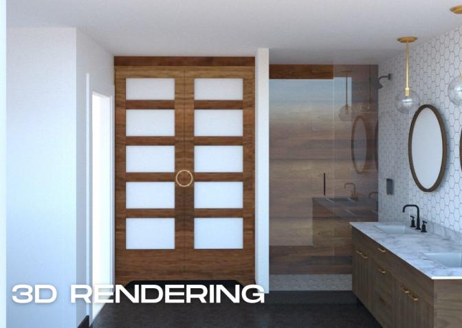 Mid-Century-Master-Bath_001 - 3D Rendering